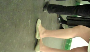 Undeceitful Teen Students Pantyhose Legs increased by Hands Shoeplay
