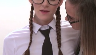 Kira Zen & Naomi Bennet in Student roleplay thong on lesson - Girlfriends