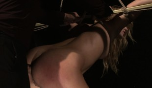 He vibrates her twat whilst confine up, bonks her and cums on her ass