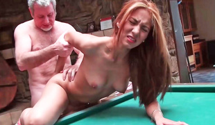 Brunette is having some hawt sex on the pool table here