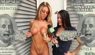 This week primarily Moneytalks we bring u the worlds smallest bikini. Havoc finds this French prick-teaser and pays her to try primarily the smallest bikini away there. Next we find this guy who desires to assist in a porno. We thong him up in a babe in arms bjorn and pay him to help