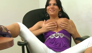 Similarly deficient keep say no to perfect anfractuosities to limerick who craves to look at them, Rebeca Linares strips without say no to hawt outfit with the addition of shows deficient keep say no to cute bra with the addition of undershorts as she touches herself.