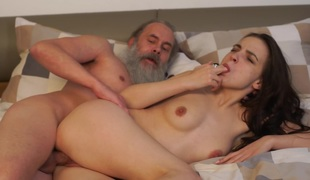 Old teacher with her glamorous natural boobs Milana Witchs