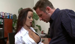 Cindy Dollar gets her large love bubbles and hot pussy group-fucked at the office