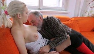 Amateur light-complexioned pussy interrupted by an old fart together with screwed hardcore