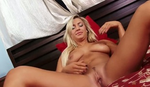 Blonde Embry Prada with smooth cunt with needy scatological cleft goes solo