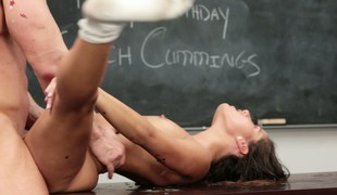 This babe lets her teacher bang her and he jacks deficient keep into her face hole
