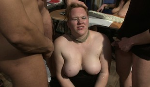 Breasty chubby bitches get maltreated and blasted at hand loads of jizz