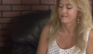 Golden-haired chubby MILF rides cock and gets her prospect aperture drilled