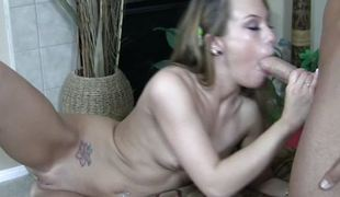Haley Pleasing tickles penis with tonsils and swallows