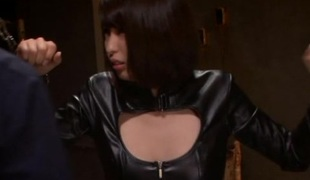 Leather-clad Asian chick with beautiful na‹ve tits enjoying a hardcore gangbang