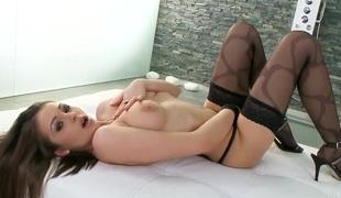 Nelly Sullivan looks fantastic in her black stockings
