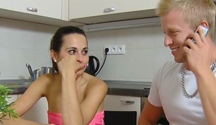 Horny girl with small titties fucked by old man when her boyfriend went out - OldGoesYoung