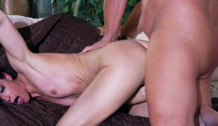 A hawt chick is having her pussy penetrated on the sofa indeed hard