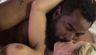Vehement interracial porn with large dark dude and white lass