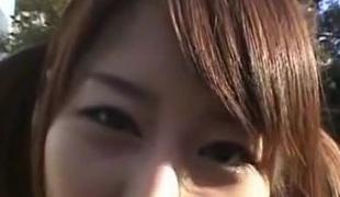 Japanese hottie gangbanged in a public bus