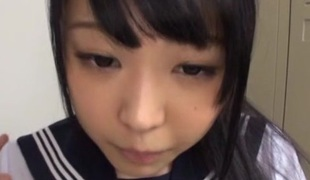 Alluring Asian legal age teenager in school uniform gets cornered after class