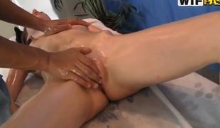 Darksome dude makes a hawt massage for exotic girl Nene
