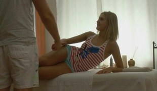 Amazing blond teen massaged with a dick instead for hands