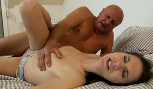Horny old bald man bends her over with the addition of bangs her loved young love tunnel