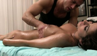Karina White is naked in every respect and property a full body massage