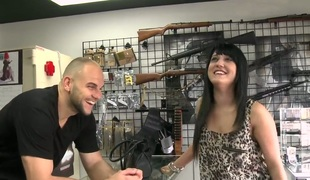 Ginmarie came in the gun shop looking for a fresh gun. Her crazy and drawing previously to boyfriend attacked her in the past and she wanted some protection. She wanted to get a big handgun. Enjoy!