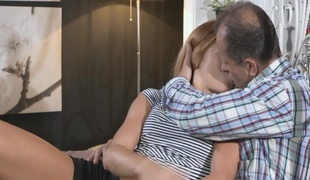 Legal age teenager redhead got creampie by aged dude