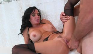 A hot raven haired hotty has her cunt penetrated really well