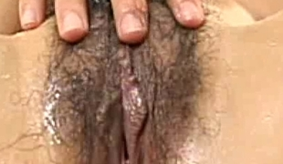 Hairy Asian babe gets some porn action
