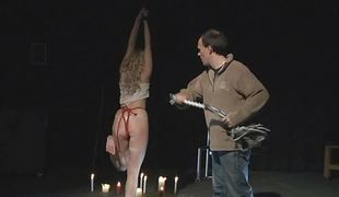 After fated whipping blonde is released near give blowjob