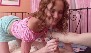 stepsis Caught Step-Bro and helps with Fine Handjob to Cum