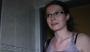 Julie in Hot glasses playgirl fucks in public bathroom - PublicAgent