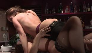 Two hotties with hot bodies are doing pussy licking on the bar