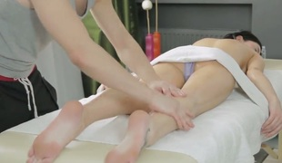 Gerta with moist jugs and clean beaver is curious about fellatio with hot guy