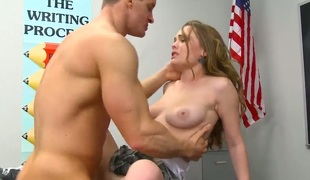 Exotic Monica Rise lets man heap up his love wand nigh her facet hole