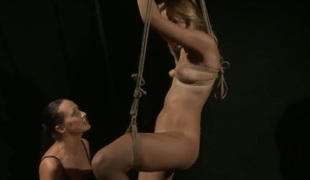 Blonde Mandy Bright fro giant hooters gets wildy tongue fucked by Retiring